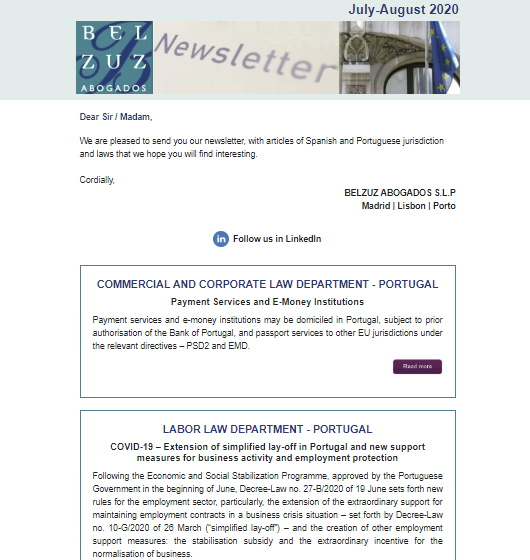 Newsletter Internacional - July/August 2020