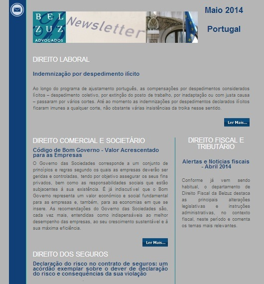 Newsletter Portugal - maio 2014