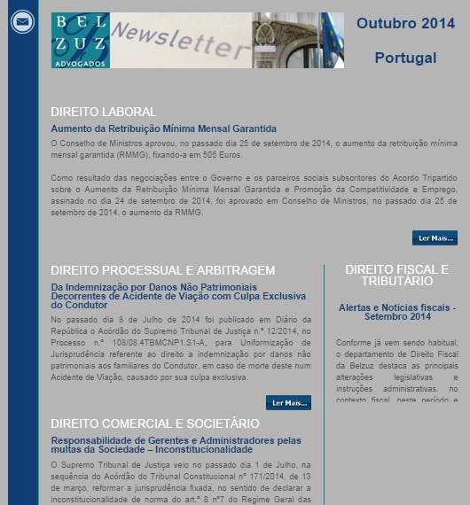 Newsletter Portugal - outubro 2014