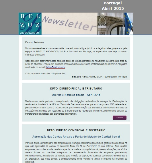 Newsletter Portugal - abril 2015