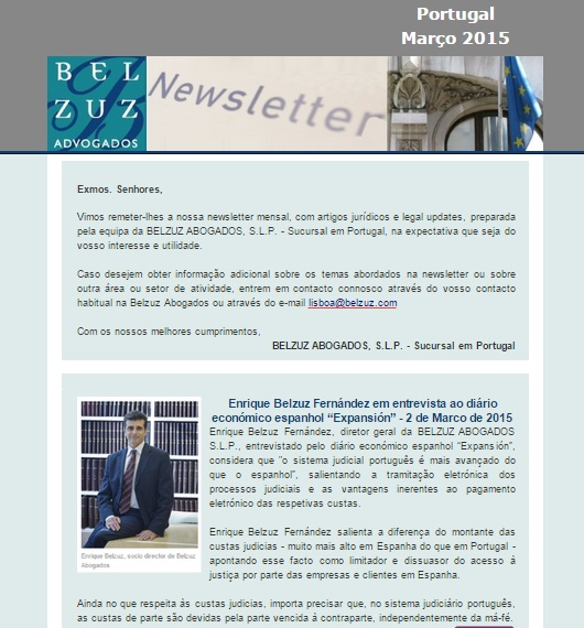 Newsletter Portugal - marco 2015