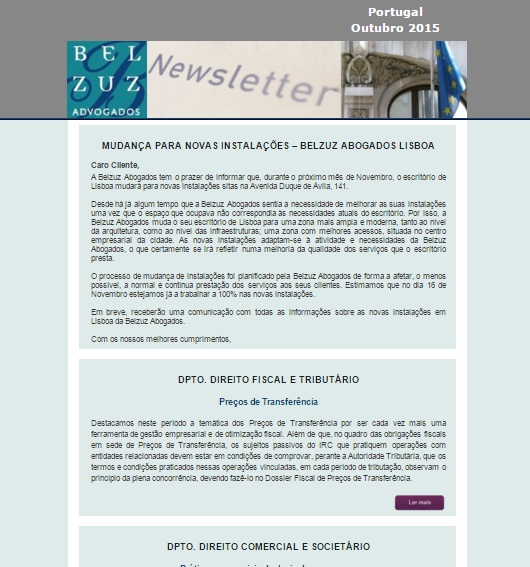 Newsletter Portugal - Outubro 2015