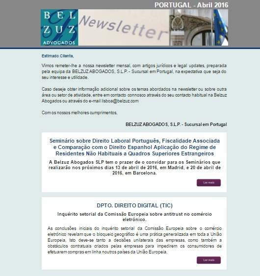 Newsletter Portugal - Abril 2016