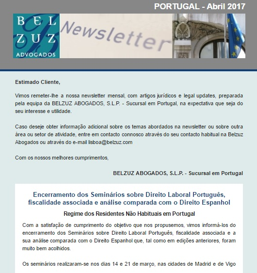 Newsletter Portugal - Abril 2017