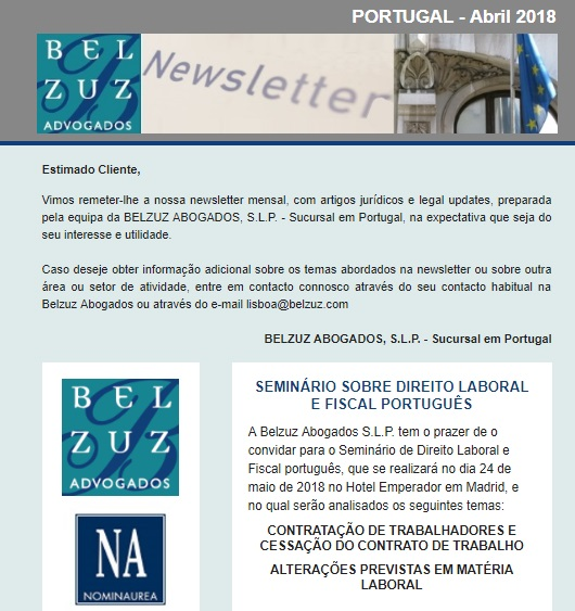 Newsletter Portugal - Abril 2018