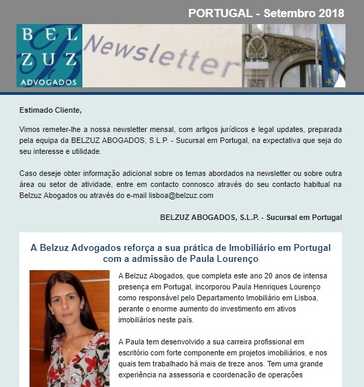 Newsletter Portugal - Setembro 2018