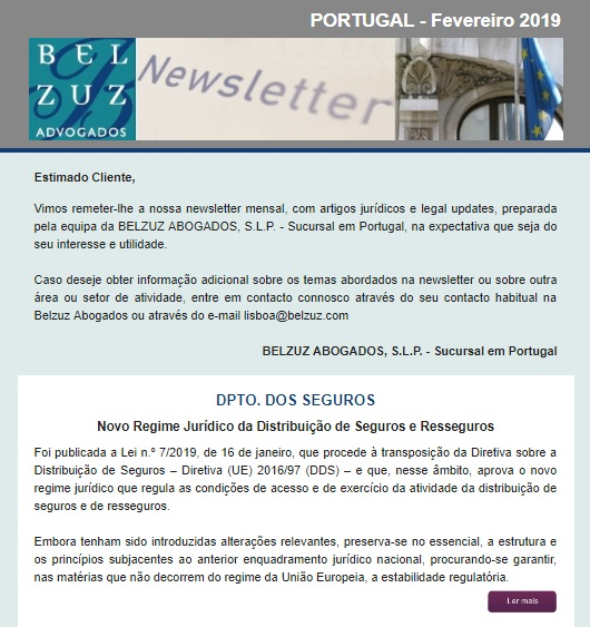 Newsletter Portugal - Abril 2019