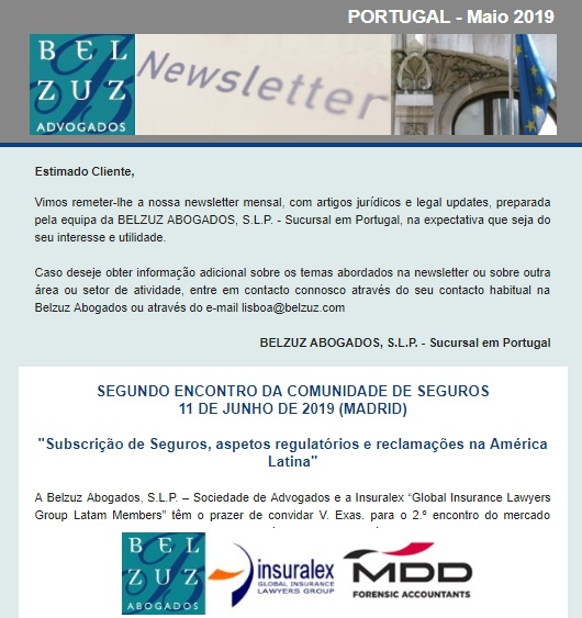 Newsletter Portugal - Maio 2019