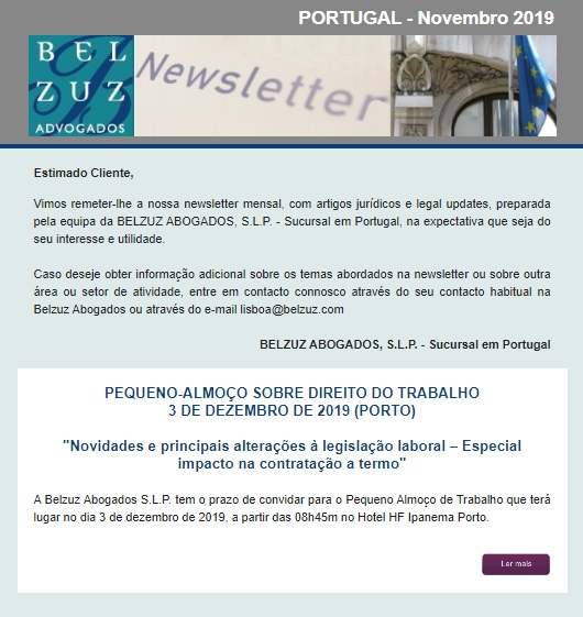 Newsletter Portugal - Novembro 2019