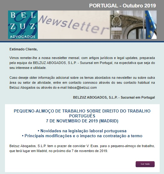Newsletter Portugal - Outubro 2019